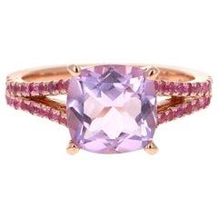3.28 Carat Amethyst and Pink Sapphire 14 Karat Rose Gold Cocktail Ring