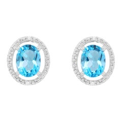 3.28 Carat Blue Topaz and Diamond Stud Earrings