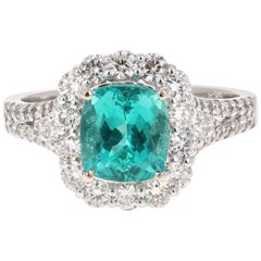 3.28 Carat Cushion Cut Apatite Diamond 18 Karat White Gold Engagement Ring