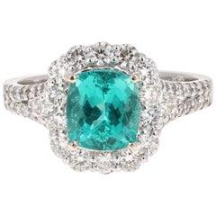 3.28 Carat Cushion Cut Apatite Diamond 18 Karat White Gold Engagement Ring