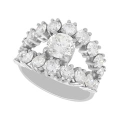 3.28 Carat Diamond and White Gold Cocktail Ring