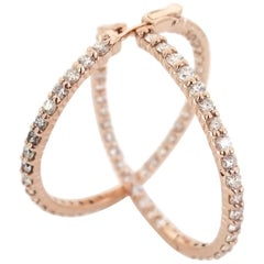 3.28 Carat Diamond Hoops Earrings 14 Karat Rose Gold