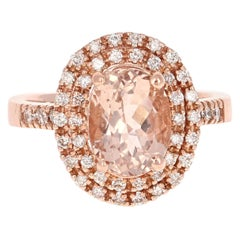 3.28 Carat Morganite Diamond Double Halo 14 Karat Rose Gold Ring