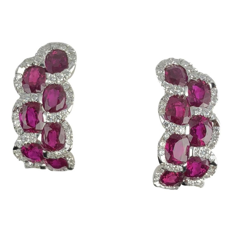 Contemporary 3.28 Carat Oval Cut Ruby Lever-back Earrings in White Diamond Halo For Sale