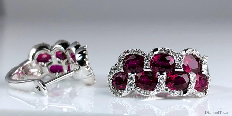 3.28 Carat Oval Cut Ruby Lever-back Earrings in White Diamond Halo In New Condition For Sale In New York, NY