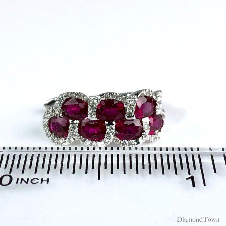 3.28 Carat Oval Cut Ruby Lever-back Earrings in White Diamond Halo 6