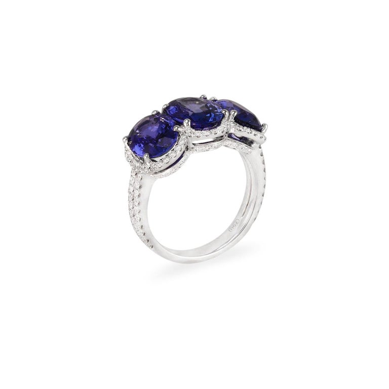Oval Cut 3.28 Carat Oval Sapphire Diamond Three-Stone Ring For Sale