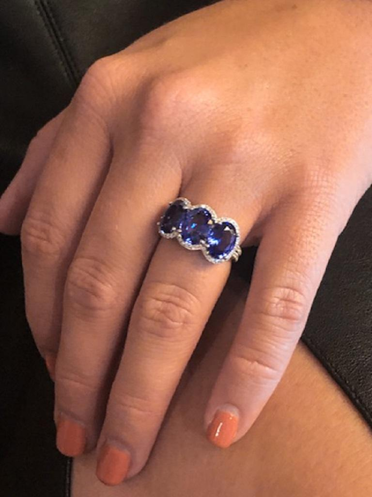 Women's 3.28 Carat Oval Sapphire Diamond Three-Stone Ring For Sale