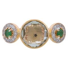 3.28 Carat Prasiolite Emerald And Diamond 18 Karat Yellow Gold Simple Ring