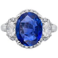 3.28 Carat Royal Blue Sapphire GRS Certified Non Heated Diamond Ring Oval Cut