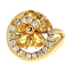 3.28 Carat Yellow Sapphire Diamond 18 Karat Yellow Gold Ring
