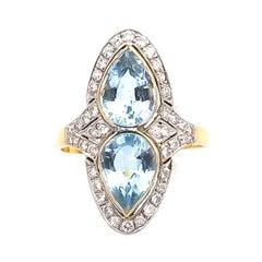 3.29 Carat Aquamarine and 0.5 Carat Diamond 18 K Gold Marquise Ring, circa 1950