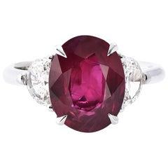 Laviere 3.29 Carat Burmese Ruby and Diamond Ring