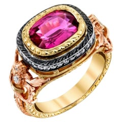 3.29 Carat Pink Sapphire Cushion and Diamond, Rose, Yellow Gold Cocktail Ring