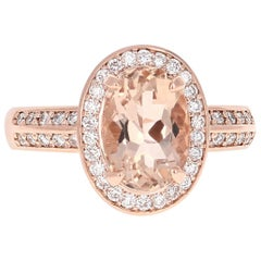 3.29 Carat Morganite Diamond Double Halo 14 Karat Rose Gold Ring
