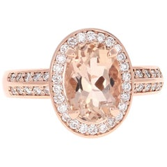 3.29 Carat Morganite Diamond Double Halo 14K Rose Gold Ring