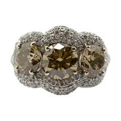 3.29 Carat Natural Brown Diamonds with White Diamond Pavè Three-Stone Ring