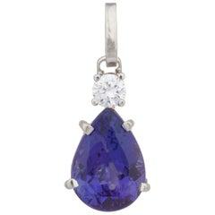 3.29 Carat Pear Purple Tanzanite Diamond White Gold Pendant