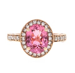 3.29 Carat Pink Tourmaline Diamond 14 Karat Rose Gold Ring