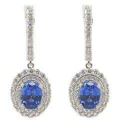 3,29 Karat Gesamtgewicht Saphir und Diamant Ohrringe Set aus 14 Karat Weißgold