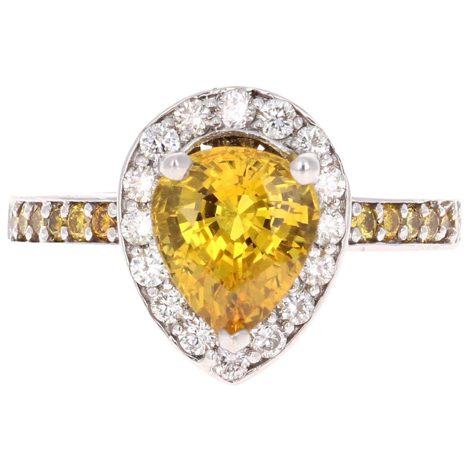 3.29 Carat Yellow Sapphire Diamond White Gold Engagement Ring