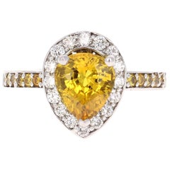 3.29 Carat Yellow Sapphire Diamond White Gold Engagement Ring