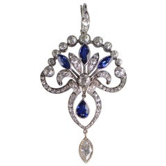 3.29 Carat Art Deco Sapphire Diamond Platinum Pendant