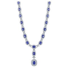 32.91 Carat Oval Cut Sapphire and Diamond Drop Necklace in 18K White Gold