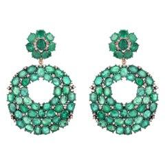 32.96 Carat Emerald Diamond Earrings
