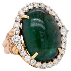 33 Carat Cabochon Oval Colombian Emerald 18K Yellow Gold Diamond Cocktail Ring
