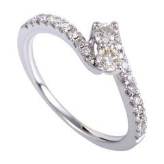 .33 Carat Curved 14 Karat White Gold Diamond Engagement Ring