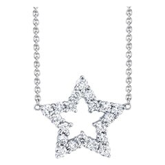 ".33 Carat Diamond 18 Karat White Gold ""Star"" Necklace"