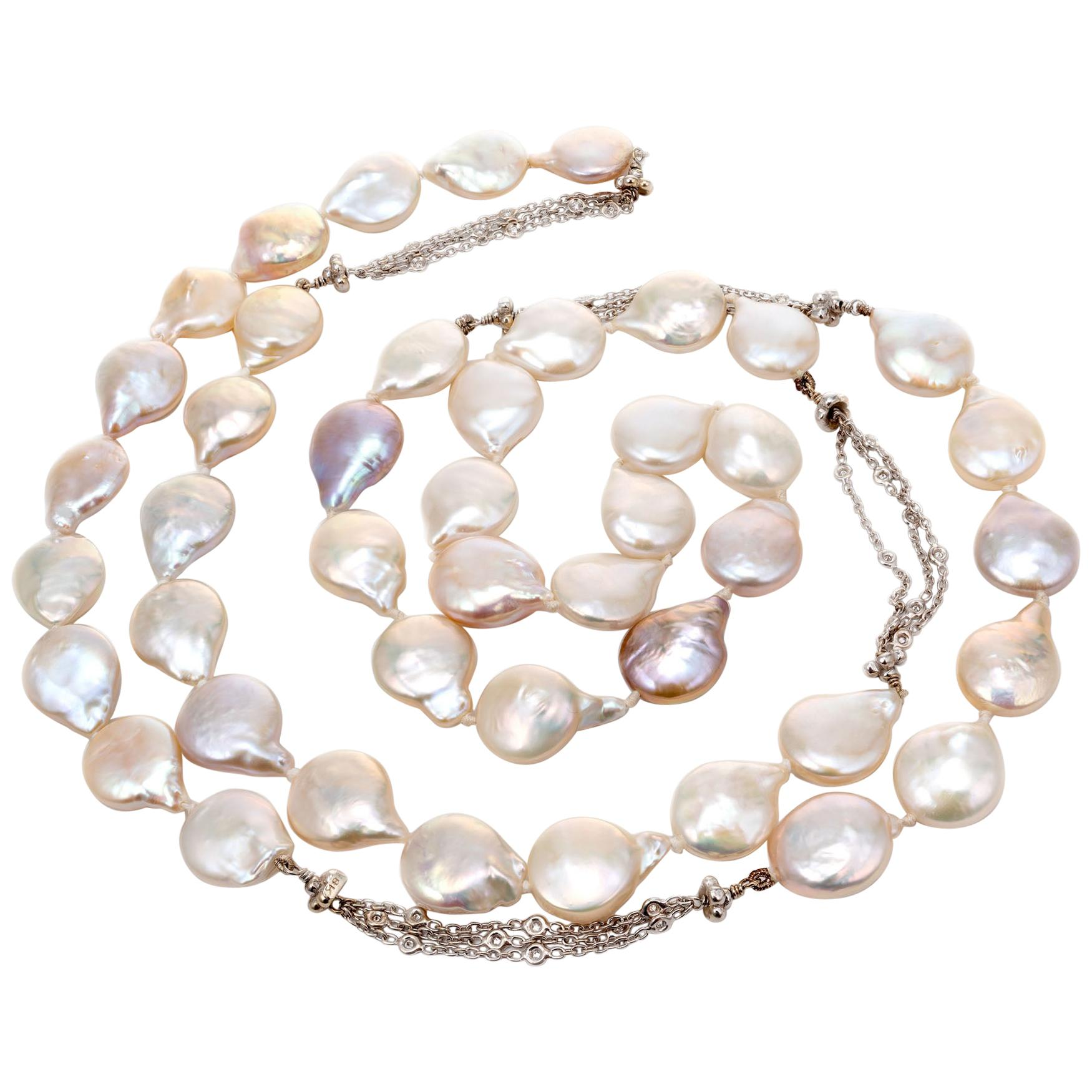 .33 Carat Diamond Cultured Freshwater Pearl White Gold Necklace
