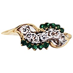 .33 Carat Emerald and Diamond Wave Style Cluster Ring