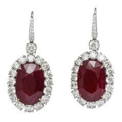 33 Carat GIA Certified Ruby and Diamond Earrings