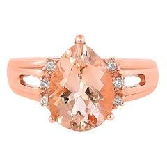 3.3 Carat Morganite and Diamond Ring in 18 Karat Rose Gold