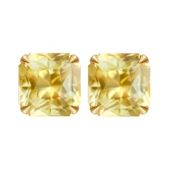 3,3 Carat Natural Yellow Sapphire 18 Karat Yellow Gold Stud Earrings