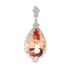 33 Carat Pear Morganite and 2.40 Carat Diamond 18 Carat Gold Enhancer Pendant