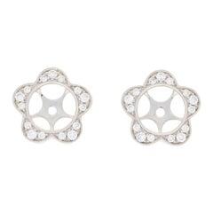 .33 Carat Round Diamond Earring Enhancers 14 Karat Gold Floral Halo Stud Jackets