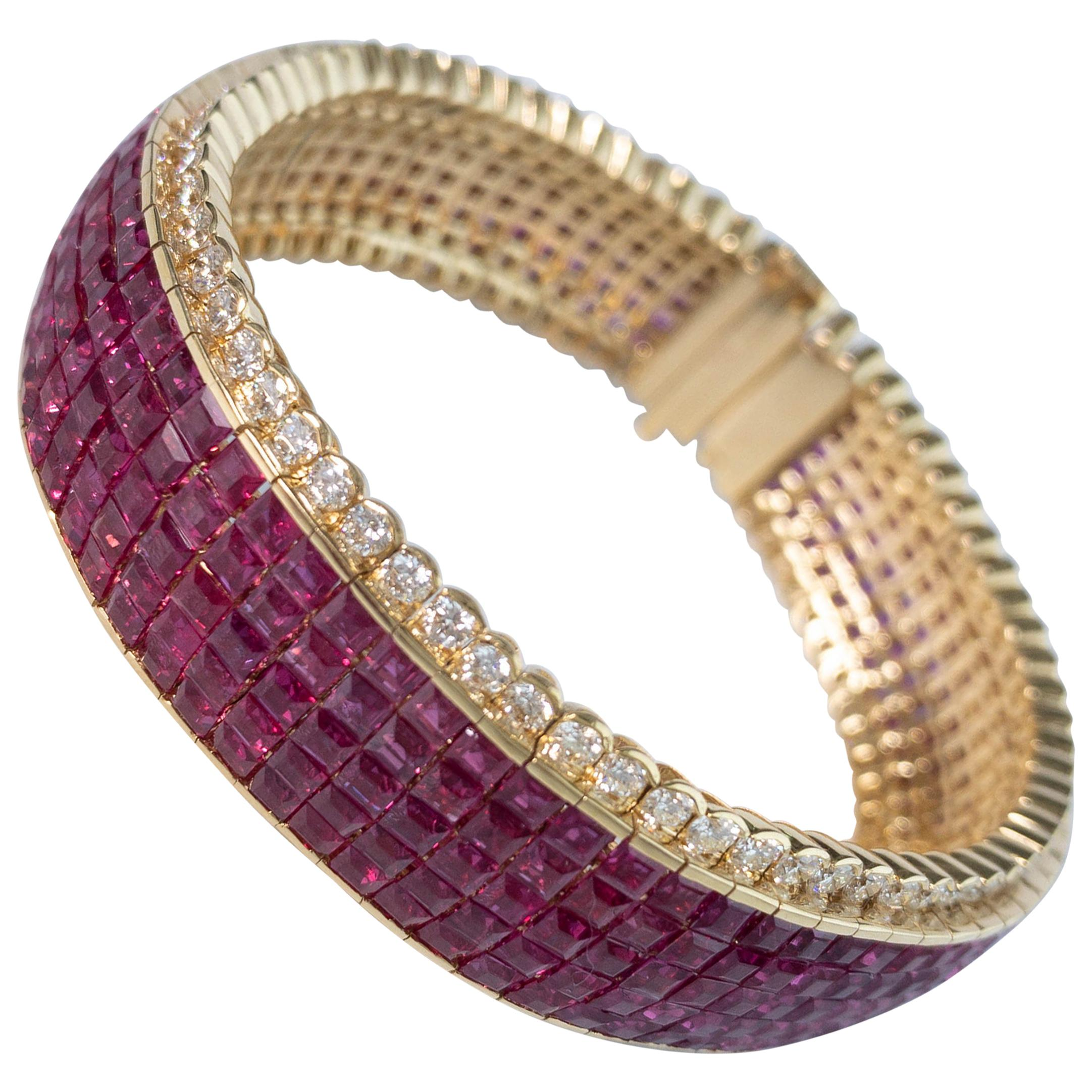 33 Carat Ruby and 4 Carat Diamond Invisible Bracelet in 18 Karat Yellow Gold