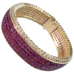 33 Carat Ruby and 4 Carat Diamond Invisible Bracelet in 18 Karat Yellow Gold