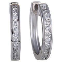 .33 Carat Small 14 Karat White Gold Diamond Hoop Earrings