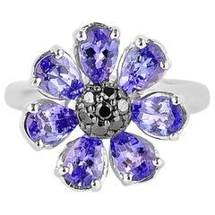 3.3 Carat Tanzanite and Black Diamond Ring in 14 Karat White Gold