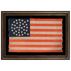 33 Star Antique American Flag, Double-Wreath Pattern, Oregon Statehood, 1859-61