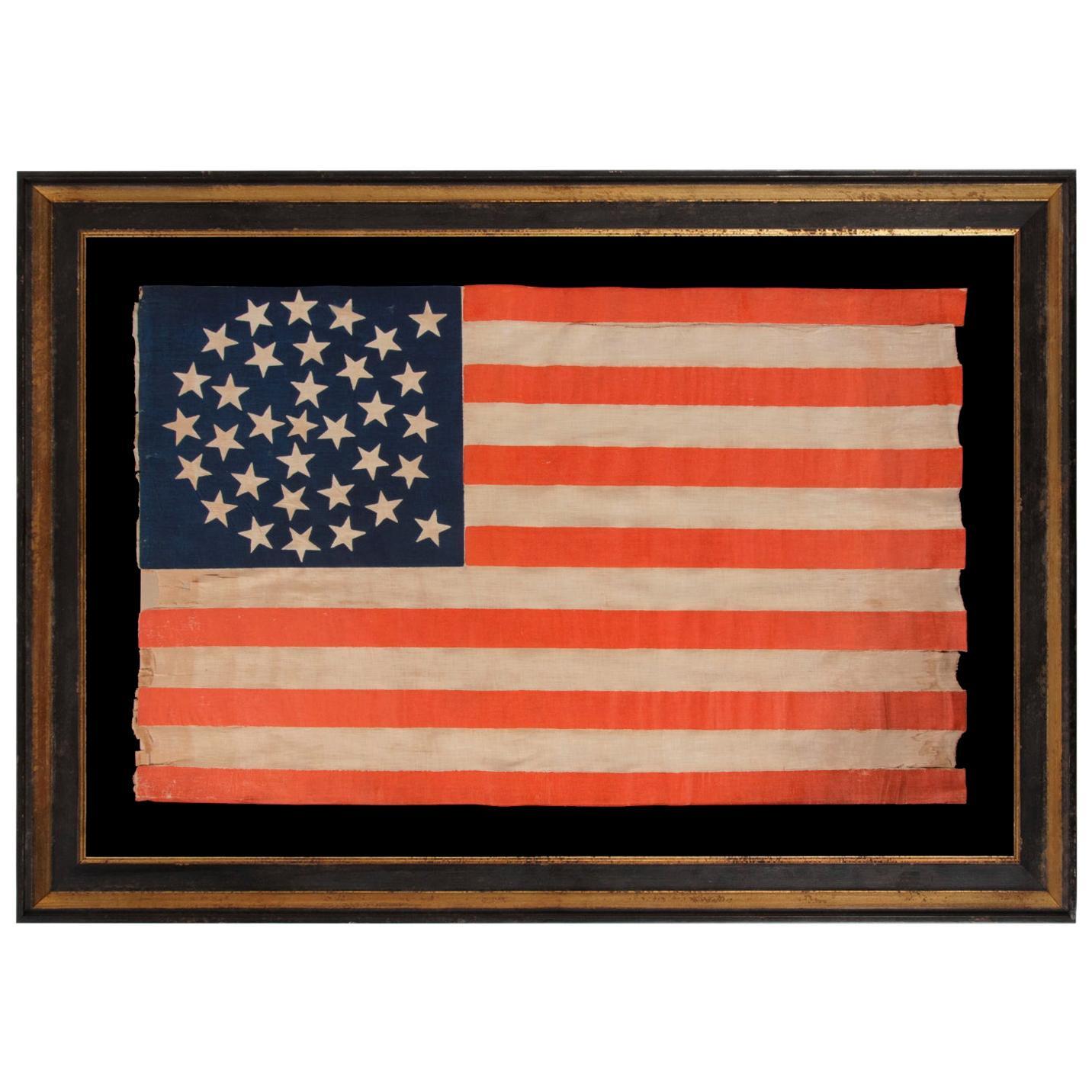 33 Star Antique American Flag, Medallion Configuration, Oregon Statehood 1859-61