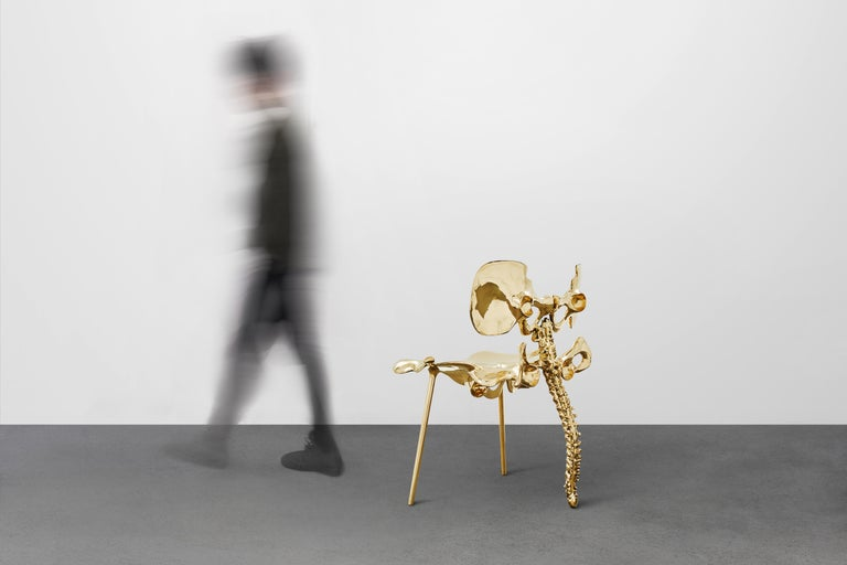 Contemporary 33 Step Chair Large Polished Brass Bone Chair by Zhipeng Tan For Sale