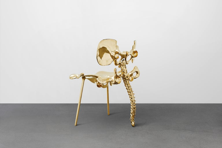33 Step Chair Large Polished Brass Bone Chair by Zhipeng Tan For Sale 2