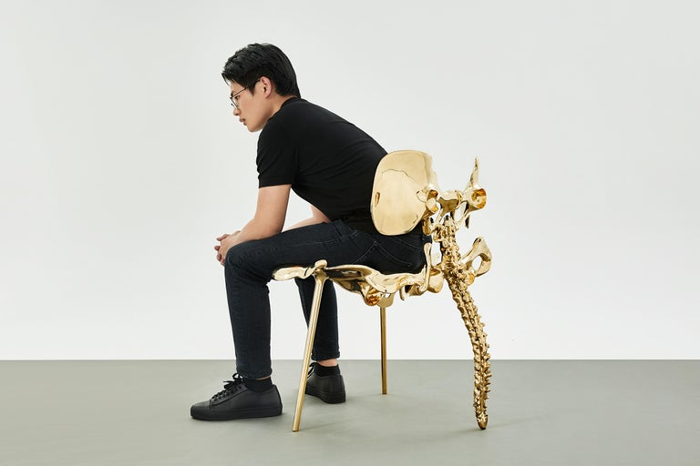 33 Step Chair Large Polished Brass Bone Chair by Zhipeng Tan For Sale 3