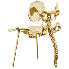 33 Step Chair Large Polished Brass Bone Chair by Zhipeng Tan