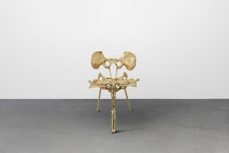 Chinese 33 Step Tail Chair Polished Brass by Zhipeng Tan For Sale